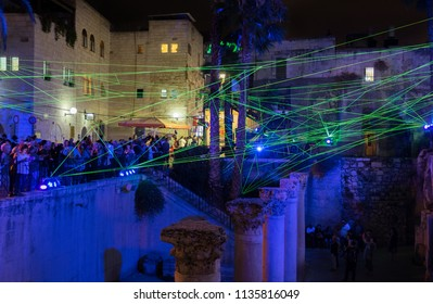 JERUSALEM, ISRAEL - JUNE 26, 2018: Web of glowed ropes installation at Jerusalem Light Festival