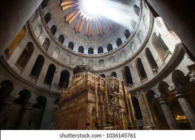 JERUSALEM, ISRAEL - MARCH 01, 2018: The ceiling over Christ grave in the holy church in Jerusalem.