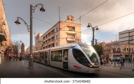Jerusalem, Israel - March 11, 2020: Jerusalem tram, Jaffa street