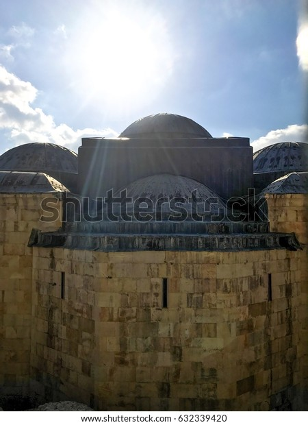 JERUSALEM, ISRAEL - MARCH 20, 2017: View of the domes (roof) behind the Church of All Nations St. Maria Magdalena.
