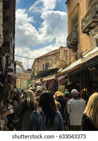 JERUSALEM, ISRAEL - MARCH 24, 2017: People shopping, enjoying the early spring weather in east Jerusalem.