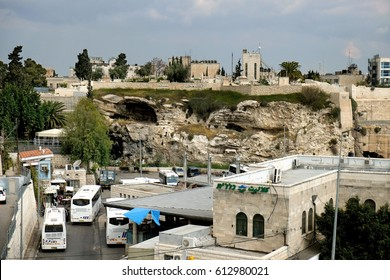 JERUSALEM, ISRAEL - MARCH 25, 2017: View from the northern wall of the old city of Jerusalem to Protestant Golgotha