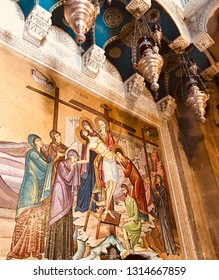 Jerusalem Israel - March 26 2018: Fragment of mosaic in the Church of the Holy Sepulchre