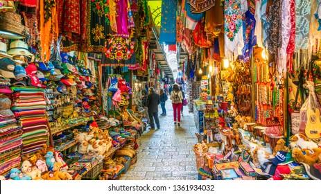 Jerusalem, Israel - March 27, 2019: View of souvenir market in old city Jerusalem, Israel