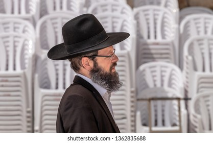 JERUSALEM, ISRAEL - MARCH 28, 2019: Orthodox Jewish man near the Western Wall in Jerusalem. Israel