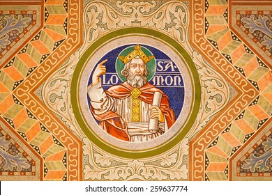 JERUSALEM, ISRAEL - MARCH 3, 2015: The king Salomon. Paint on the ceiling of Evangelical Lutheran Church of Ascension designed by H. Schaper and F. Pfannschmidt (1988-1991).