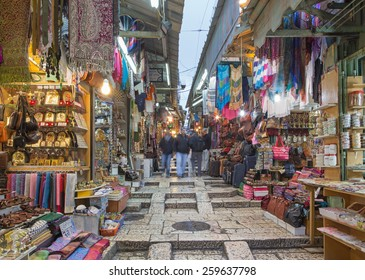 JERUSALEM, ISRAEL - MARCH 3, 2015: The market street in old town at full activity.