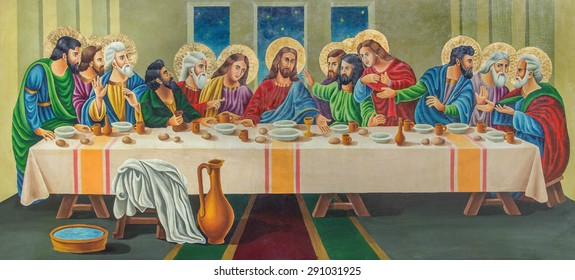 JERUSALEM, ISRAEL - MARCH 3, 2015: The painting on the wood - The Last supper by artist Andranik (2001) in orthodox church Tomb of the Virgin Mary.