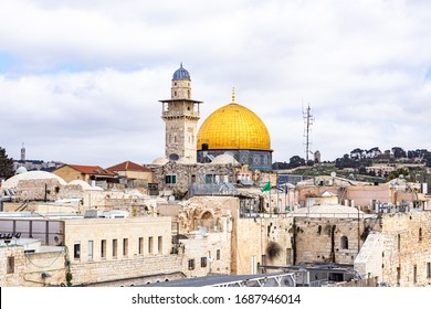 Jerusalem, Israel, March 3, 2020 : The Bab al-Silsila minaret and the Dome of the Rock are on the Temple Mount in the Old Town of Jerusalem in Israel