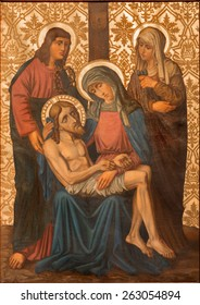 JERUSALEM, ISRAEL - MARCH 4, 2015: The Pieta paint from end of 19. cent. by unknown artist as part of cross way cylce in Armenian Church Of Our Lady Of The Spasm.