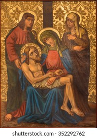 JERUSALEM, ISRAEL - MARCH 4, 2015: The Pieta (Deposition) paint from end of 19. cent. by unknown artist as part of cross way cycle in Armenian Church Of Our Lady Of The Spasm.