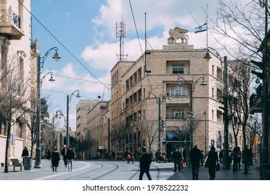 Jerusalem, Israel - March 4, 2021: Lion on top of the building at Ha-Shoter Square on the Jaffa street in Jerusalem