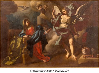 JERUSALEM, ISRAEL - MARCH 5 , 2015: The Annunciation paint in St. Ann church by unknown artist.