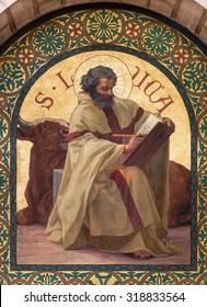 JERUSALEM, ISRAEL - MARCH 5, 2015: The paint of Saint Luke the Evangelist in st. Stephens church from year 1900 by Joseph Aubert.