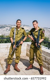 Jerusalem. Israel, March 7th, 2017: Soldiers of the Israeli Defence Force (IDF) pose while on patrol in Armon Hanatziv Promenade in Jerusalem, Israel
