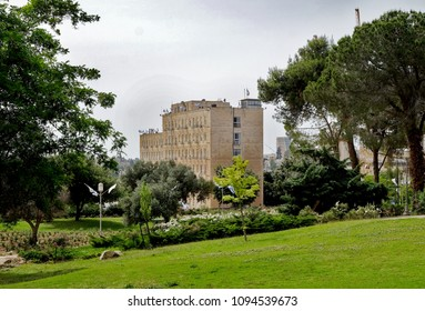 JERUSALEM, ISRAEL - MAY 05, 2018: View of the residence of the Prime Minister from the Rose Garden in the Government District of Jerusalem