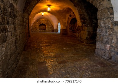 JERUSALEM, ISRAEL - MAY 12: Interior arched corridor of the King David's Tomb in Jerusalem, Israel on May 12, 2017