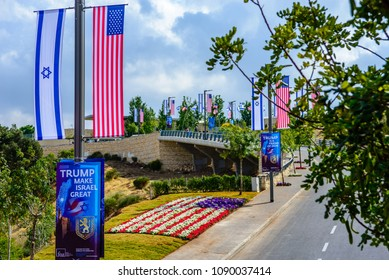 Jerusalem Israel - May 13 2018: Road towards a new US embassy in Jerusalem, adorned with American and Israeli flags