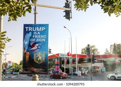 "Jerusalem, Israel - May 16, 2018: One of the many posters in the streets of Jerusalem with the inscription ""Trump is a friend of Zion""."