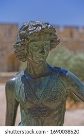 JERUSALEM, ISRAEL - MAY 18, 2016: Bronze copy of Andrea del Verrocchio's David at the Tower of David, a gift from city of Florence in Italy to the city of Jerusalem. Model was young Leonardo da Vinci.