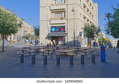 JERUSALEM, ISRAEL - MAY 18, 2016: Day scene at Ha-Shoter Square at Jaffa street.