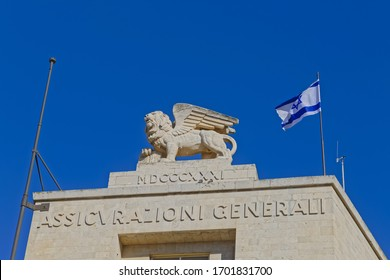 JERUSALEM, ISRAEL - MAY 18, 2016: Lion on top of the building at Ha-Shoter Square on the Jaffa street in Jerusalem