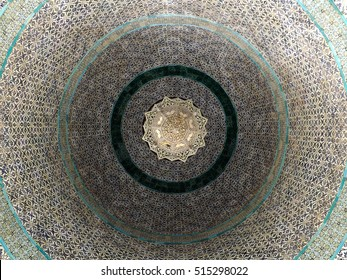 JERUSALEM, ISRAEL - MAY 21, 2013: Ceiling of the Dome of the Chain seen from inside. Dome of the Chain is located adjacently east of the Dome of the Rock in the Old City of Jerusalem.