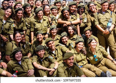 Jerusalem Israel May 21, 2018 View of a Israeli soldiers fraternity ceremony on the Western wall plaza in the old city of Jerusalem in the evening