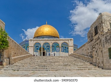 JERUSALEM, ISRAEL - MAY 23, 2016: Tourists visiting the Dome of the Rock, an Islamic shrine located on the Temple Mount in the Old City.