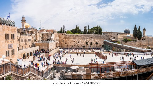 Jerusalem, Israel - May 25, 2012: Many people coming to see the Western Wall or Wailing Wall that is the most religious site in the world for Jewish people. Located in the Old City of Jerusalem.