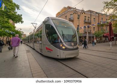 Jerusalem, Israel - May 25, 2018: The light train going down Jaffa Street