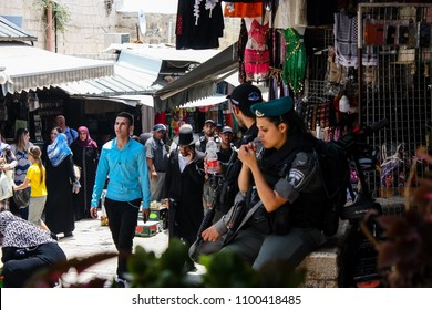 Jerusalem Israel May 28, 2018 View of unknowns people walking in the bazaar of the Muslim quarter at the Old city of Jerusalem in the morning