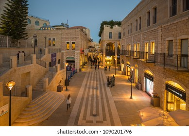 Jerusalem, Israel - May 30, 2017: Mamilla Pedestrian mall outside the Jaffa Gate entrance to the old city of Jerusalem