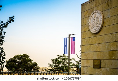 Jerusalem Israel - May 8 2018: Before the move of the US Embassy to Jerusalem - United States Consular General seal and the American-Israeli flags