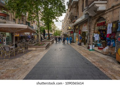 Jerusalem, Israel - May 8, 2018: Pedestrians and shoppers walking down Ben Yehuda street.