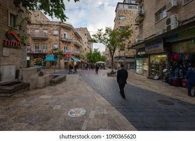 Jerusalem, Israel - May 8, 2018: Pedestrians and shoppers walking down Ben Yehuda street.