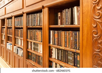 Jerusalem, Israel - Nov 08, 2011: A library of holy Jewish books In a bookcase