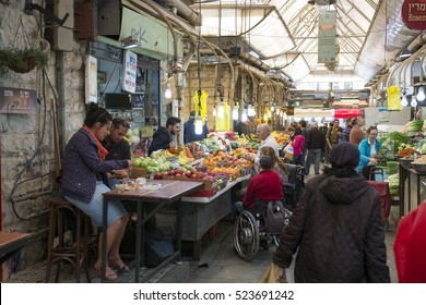 Jerusalem, Israel- November 22, 2016: Sweet food on the Mahane Yeguda Market in Jerusalem