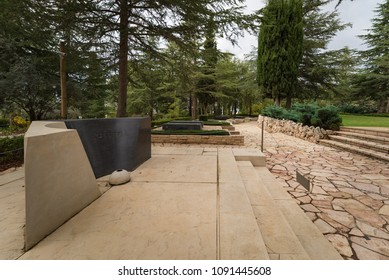 Jerusalem, Israel - November 23, 2017: The tomb stone of Yitzhak and Leah Rabin at Mount Herzl Military Cemetary.