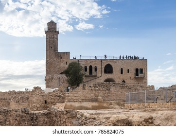 Jerusalem, Israel, November 25, 2017 : Grave of Samuel - The Prophet located in An-Nabi Samwil also al-Nabi Samuil - Palestinian village in Jerusalem Governorate in Israel