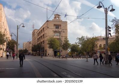 Jerusalem, Israel - November 25, 2020: Jaffa street, generali building