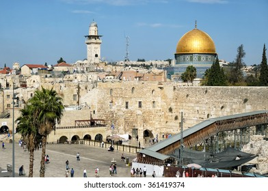 JERUSALEM, ISRAEL - NOVEMBER 4, 2012: The Wailing Wall and The Dome of the Rock. Western Wall, Wailing Wall and The Dome of the Rock are the most famous religious monuments in Jerusalem.