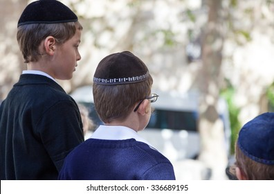 Jerusalem, Israel - November 6 2010: Young people in the Jewish quarter