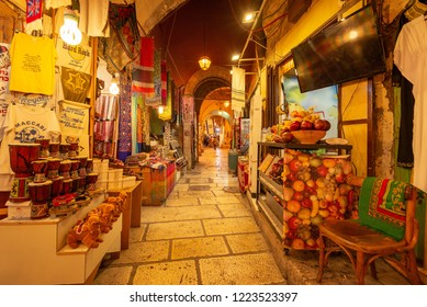 Jerusalem, Israel - November 6, 2018: The Arab Market in the Old City of Jerusalem.