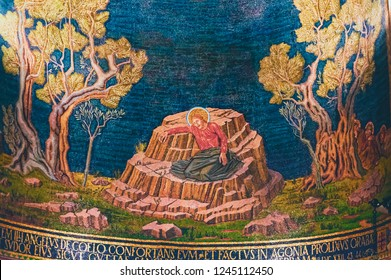JERUSALEM, ISRAEL, October 04 2018: Mosaic depicting Jesus in last pray at the Church or Basilica of the Agony located next to Garden of Gethsemane in Jerusalem, Israel.