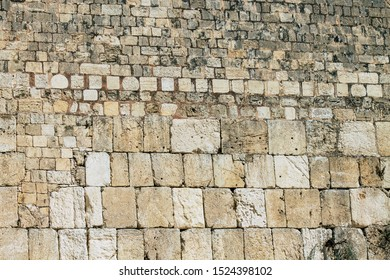 Jerusalem Israel October 06, 2019 Closeup of the Western wall in the Old city of Jerusalem in the afternoon