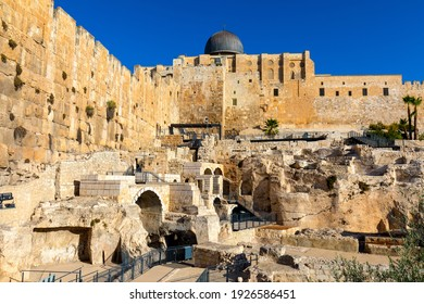 Jerusalem, Israel - October 12, 2017: Temple Mount south wall with Al-Aqsa Mosque and archeological excavation site in Jerusalem Old City