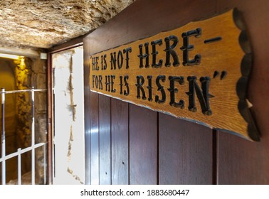 Jerusalem, Israel - October 14, 2017: Burial chamber Interior of Garden Tomb considered as place of burial and resurrection of Jesus Christ near Old City of Jerusalem