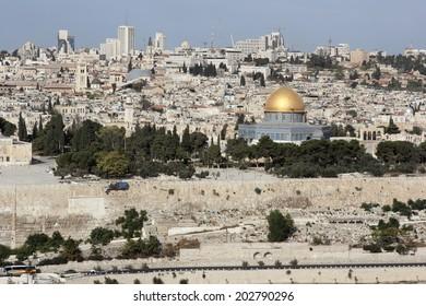 Jerusalem, Israel: October 17, 2012 - Look at Jerusalem from the Mount of Olives, Israel