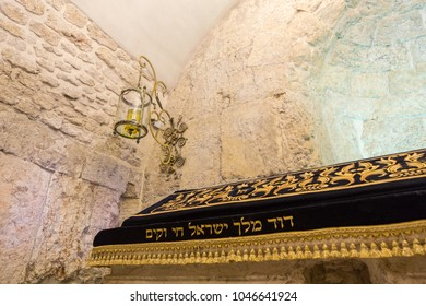 Jerusalem, Israel - October 18, 2013. King David's Tomb located on Mount Zion in Jerusalem. The tomb is situated in a ground floor corner of the remains of the former Hagia Zion, a Byzantine church.